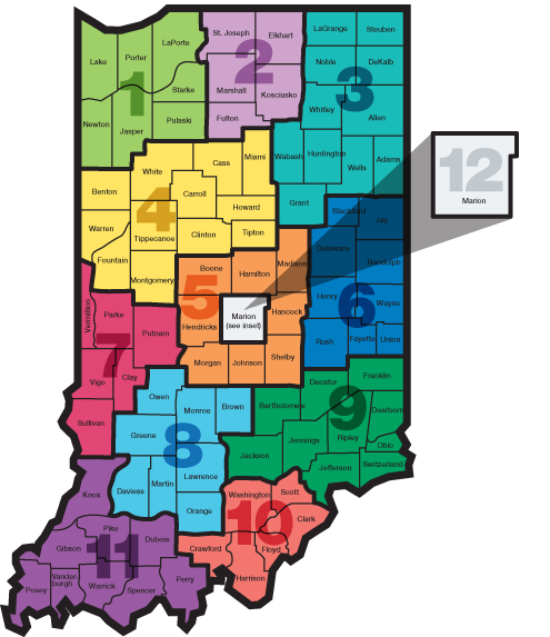 Dept. of Workforce Development Regional Map